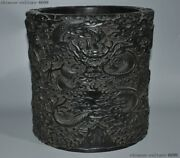 9old Chinese Dynasty Rosewood Wood Carving Dragon Loong Brush Pot Portrait Vase