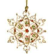 Lenox 40th Anniversary Snowflake Ornament Holiday Holly Gemmed Christmas New