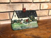 Rare Old Antique Solid Metal Hand Painted Cape Cod Cottage House Doorstop Heavy