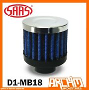 Saas Mini Air Breather 18mm Inlet Neck Filter Blue Urethane Base D1-mb18