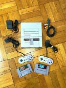 Super Nintendo Snes Console W/ Oem Controllers + W/ Mario World And Donkey Kong