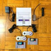 Super Nintendo Snes Console W/ Oem Controllers + W/ Mario World And All Stars