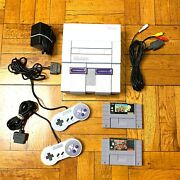 Super Nintendo Snes Console W/ Oem Controllers + W/ Mario Kart And Donkey Kong