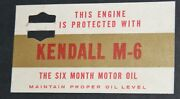 Vintage Kendall M-6 Six Month Motor Oil Car Engine Advertising Card/tag 1960s