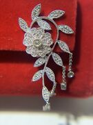 Diamond And 14k White Gold Floral French Dangling Earrings