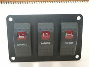 Switch Panel Livewell Baitwell Fishbox Pumps Carling Contura 3 Red Lens V1d1 Psc