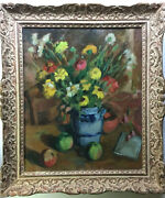 French Impressionism Still Life Bouquet Flowers Apples Andre Charigny Cezanne