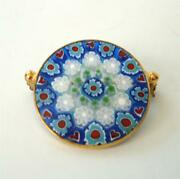 Vintage Millefiore Caned Glass Brooch Pin Murano Stained Glass Window Gold 1