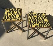 Warren Lloyd For Weiman Pair Of Brass With Steel Stools Upholstered In Letters