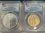 2006-w 20th Anniversary Gold And Silver Burnished Two-coin Set Pcgs-sp 69 Fs