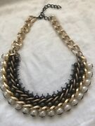 """Costume Jewelry Choker 8"""" Long Brown/gold/pearl Necklace"""
