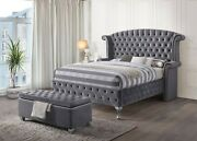 1pc Contemporary Queen Size Gray Velvet Bed Bedroom Furniture Wingback Headboard
