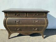 Antique Italian Leather Dresser Bombe Chest Nightstand Table Rococo Baroque Tool