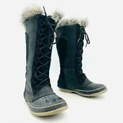 Sorel Cate The Great Black Leather Winter Snow Boots Womens Size 7
