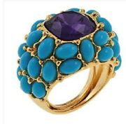 Kjl- Kenneth Jay Lane Turquoise-amethyst Itand039s My Bling Cabochon Dome Ring Sz 8
