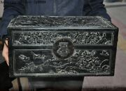 Antique Chinese Rosewood Wood Dynasty Flower Bird Jewelry Box Storage Box Boxes