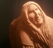 And03989 Shar Frazier Vtg Oklahoma Red Stone Carving Natve American Indian Art Statue