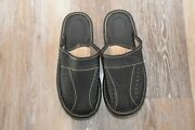 Leather House Sheepskin Scuff Or Slide Slippers Light Weight Menand039s Black