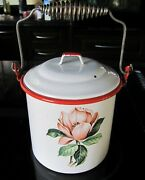 Vintage Tres Mexico Enamelware Rose Floral Decal Art Deco Lunch Pail Box Bucket