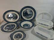 Currier And Ives Royal China Blue Serving Plates Bowls Please Read Description