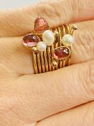 Ten Unique 14k Yellow Gold Stackable Designer Rings, Pearl/rubellite, Size 7