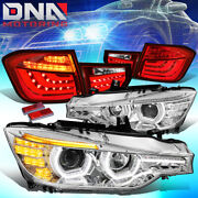 Fit 12-16 Bmw 3-series Led Drl+3d U-halo Projector Headlight+tail Lamps Chrome