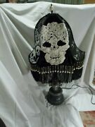 Skull Gothic/victorian Beaded Fringe Ooak Halloween Table Lamp And Shade Oddities