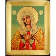 Virgin Of Extreme Humility Serigraph Icon Made In Greece 7 1/4x5 3/4