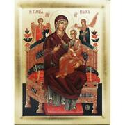 Virgin Mary Queen Tsaritsa Of All. Wood Serigraph Icon Made In Greece. 14x11