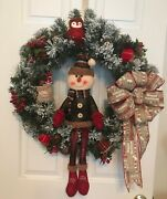 Primitive Country Snowman Christmas/holiday Wreathandnbsp