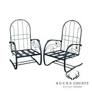 Quality Pair Vintage Black Wrought Iron Spring Base Garden Lounge Chairs