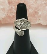 Vintage Rogers Bros 1847 Sterling Silver Flowers Wrap Ring Size 6