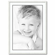 Arttoframes Matted 28x40 White Picture Frame With 2 Double Mat, 24x36 Opening