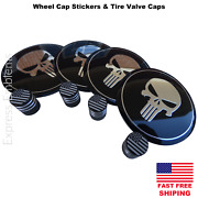 4x Punisher Wheel Cap Hub Sticker Decal 2.20 And 4x Us Flag Tire Valve Stem Caps