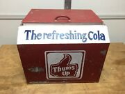 Vintage Antique Thums Up The Refreshing Cola Metal Ice Chest Cooler Display Rare