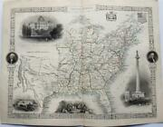United States - Finely Engraved Tallis / Rapkin Map 1851 - With Fine Vignettes