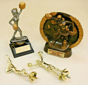 Vintage Lot Mixed Cheerleader Trophy Clear Topper Girl Figurine Statue Shiny Ie