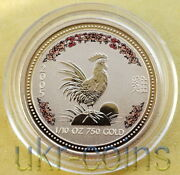 2005 Australia 1/10oz Year Of The Rooster Color Gold Coin Bu Lunar I Perth Mint