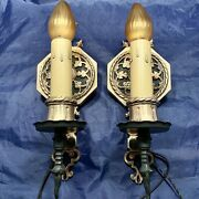 Pair Quality Heavy Thick Brass Antique Sconces Rewired Fixtures 80a