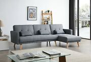 Greatime Fabric Convertible Section Sofa Bed/corner Sleeper With Pillow Cushions