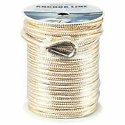 3/8x100and039 Double Braid Nylon Rope Anchor Line With Stainless Thimble-white/gold