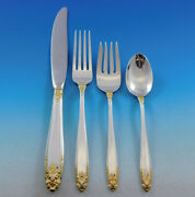 Prelude Gold Accent By International Sterling Silver Flatware Set Service 43 Pcs