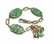 Chinese Green Carved Jadeite Jade And 14k Gold Charm Bracelet.