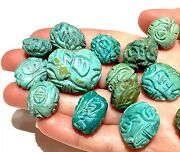 Antique Or Vintage Chinese Turquoise Beads Hand Carved For Necklace Bracelet