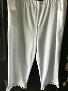 Quacker Factory White French Terry Capri Pants With Tassels 2x