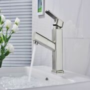 Lajef Brushed Nickel Basin Faucet Singlehandle Bathroom Mixer Tap Rotation Spout