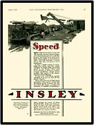 1929 Insley Cranes Metal Sign Type R And Type C Fully Revolving 1/2 Yard