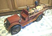 Fire Truck Wood And Metal Large Collector Toy