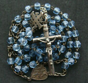Old Vintage Beautifully Detailed Light Blue Beads Silver Cross And Chain Rosary