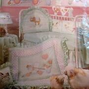 Vtg Daisy Kingdom Cotton Fabric Panel Baby Quilt Top And Headboard Bumper Pull Toy